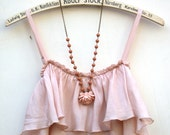 A Vintage Shabby Chic  Nude Color Rose Necklace