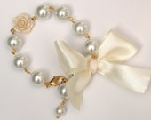 Flower Girl, Bridesmaid, Special Occasion Crystal Pearl Bracelet In White Cream