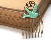 Hair Comb -  Mint Green Maroon Bird in Flight Hair Comb  Antique Victorian Style