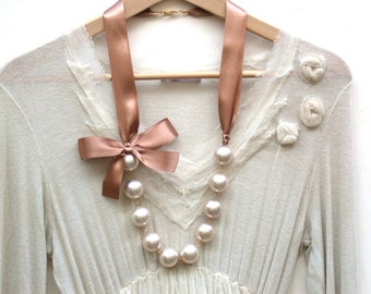 Carrie Bradshaw Inspired Giant Vintage Cream Pearls Long Necklace In Mocha Brown Satin Ribbon