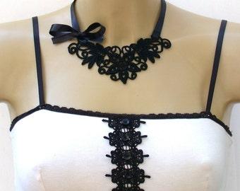 Antique Black Lace Choker Necklace