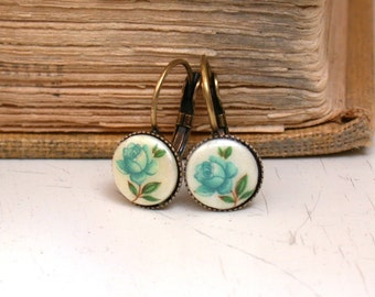 Vintage Glass Blue Floral  Earrings
