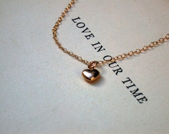 Gold Heart Necklace - You Are Always In My Heart  Gold Filled 14K  Necklace La Petite heart Necklace Bridesmaids Wedding Bridal Jewelry