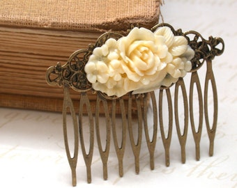 Ivory Hair Comb -Vintage Style Ivory  Flower Basket Hair Comb Vintage Style