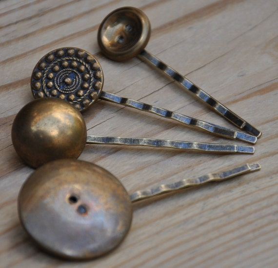A Touch of Vintage  - A Set of 4 Fabulous Vintage Buttons Hair Bobby Pins