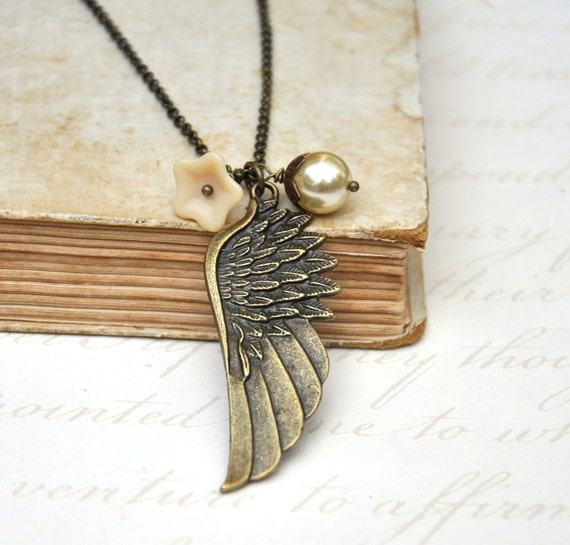 Angle Wing Antiqued Style  Necklace