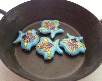 Cloisonne Fish Beads - 4 beads