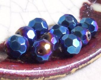 Winter Blue Golden Plum - Czech Glass - Faceted 10mm Round - 10 Beads