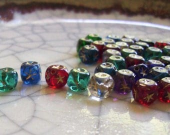 Star-bursts / Glass Cube Beads with Gold Stars - 48 beads