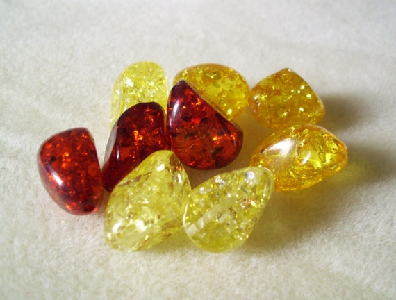 Crackle Resin Beads - Shades of Amber - Nugget Shape - 9 pieces