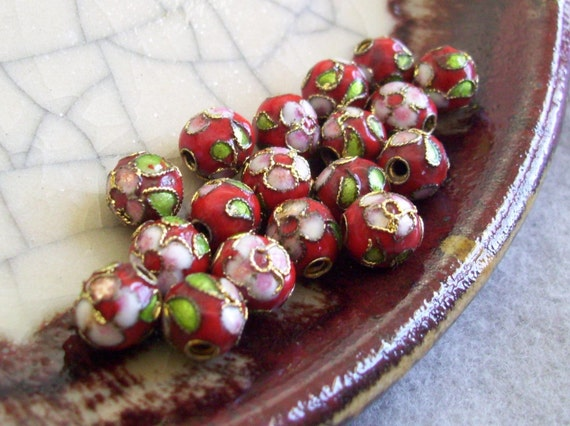 Cloisonne Beads - Blood Red Floral - 8mm - 18 beads