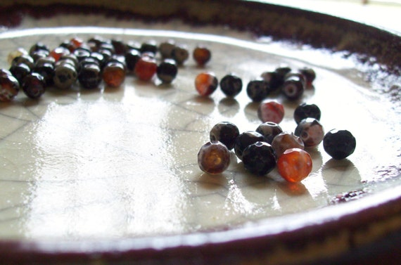 Brown Agate - Faceted Disco Beads - 58 beads
