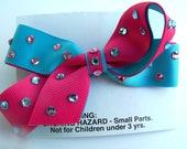 Glitter Girl Bow in Pink & Blue by KristisCreations
