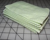Upcycled Green Floral Clover Flannel Cloth Napkins - Baby Wipes