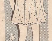Vintage 1930s MAIL ORDER Girl's  Dress with Short Puffy Sleeves Sewing Pattern Size 10
