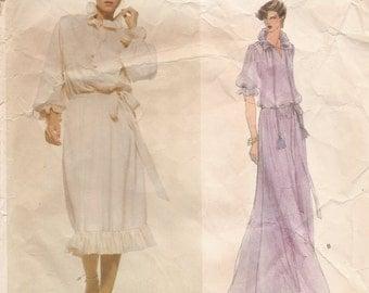 Vintage 1970s VOGUE Paris Original Dress or Gown with RUFFLES Designer Sewing Pattern - Yves Saint Laurent