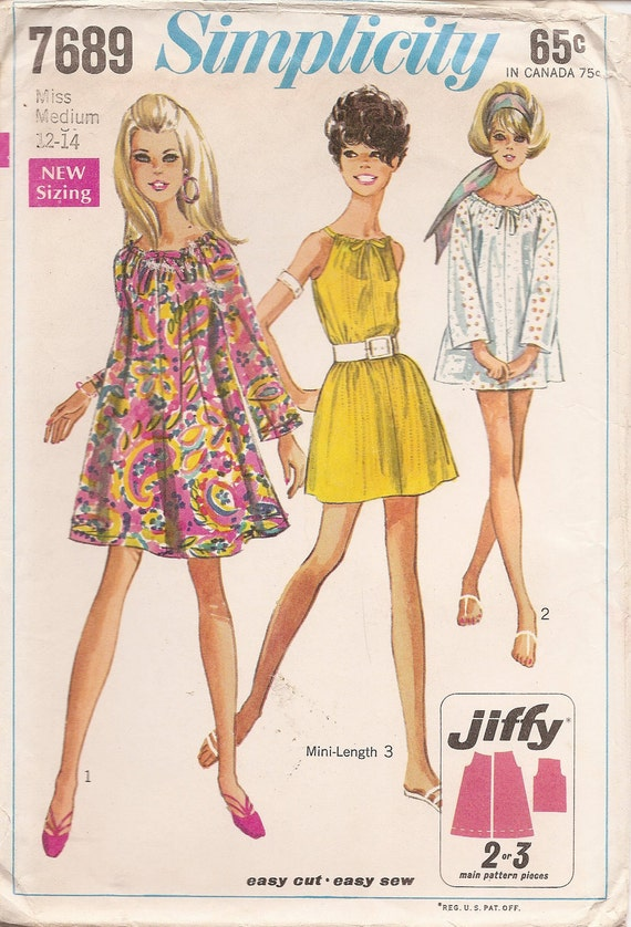 1960s Vintage Misses' COLLARLESS Dress with Raglan Sleeves JIFFY Sewing Pattern, Size Medium 12-14 FACTORY Folded