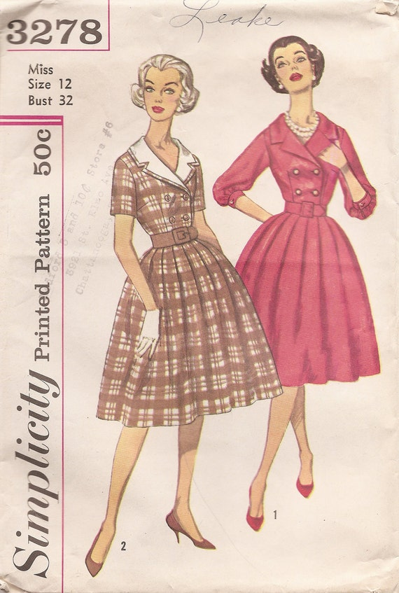 1950s Vintage Misses' DOUBLE BREASTED Dress with DETACHABLE Collar Sewing Pattern