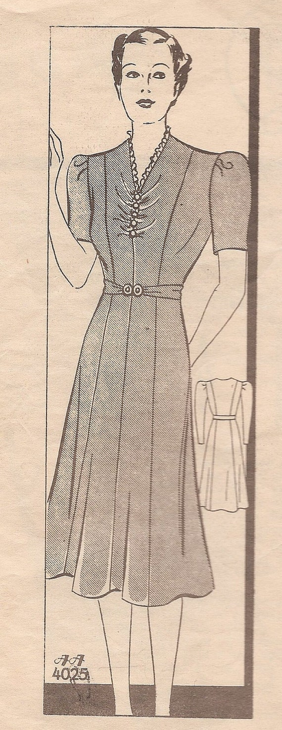 1930s Vintage ANNE ADAMS Mail Order Dress with PRINCESS Seams Sewing Pattern PLuS SiZE Bust 42