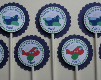 Airplane Party Custom Cupcake Toppers - My Little Co-Pilot Collection