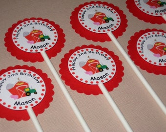 Farm Party Custom Cupcake Toppers - My Little Farmer Collection
