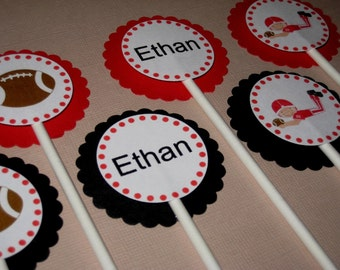 Football Party Custom Cupcake Toppers - My Little Quarterback Collection