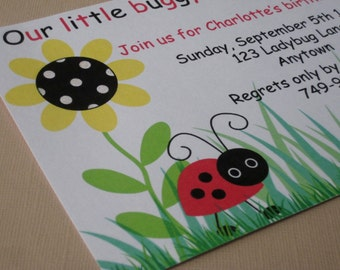 Ladybug Birthday Party Custom Invitations - My Little Buggy Collection
