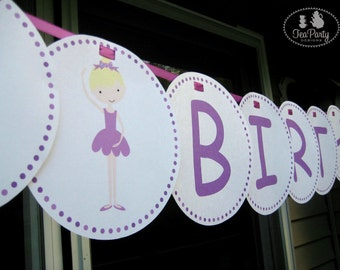 Ballet Party Custom Birthday Banner - My Little Ballerina Collection