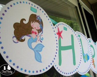 Mermaid Party Custom Birthday Banner - Blue Lagoon Collection
