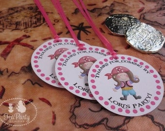 Pink Girl Pirate Party Custom Favor Tags - Ahoy Matey Collection
