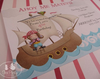 Pink Girl Pirate Birthday Party Custom Invitations - Ahoy Matey Collection