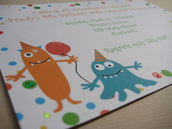 Monster Party Custom Invitations...My Little Monster Collection from Tea Party Designs