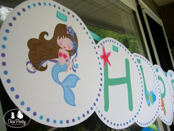 Mermaid Party Custom Birthday Banner - Blue Lagoon Collection from Tea Party Designs