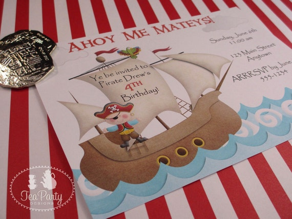 Red Boy Pirate Birthday Party Custom Invitations - Ahoy Matey Collection