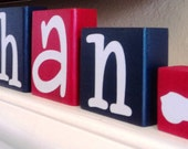 CUSTOM PERSONALIZED BLOCKS - Wooden - Letters - Motorcycle - Harley Davidson - Name - Boys Room Decor - Baby Shower Gift