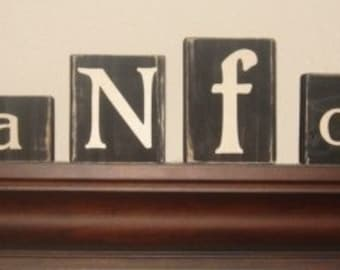 CUSTOM LETTER BLOCKS - Personalized Distressed - Last Name - Home Decor - Wedding - Housewares - Sign - Shabby Chic Rustic