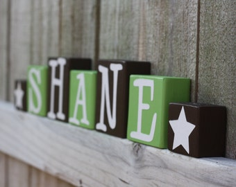 Star Nursery Deco Art Wood Name Blocks, Blue or Sage Custom Wood Letter Blocks Kids Room Star Decorative Wood Blocks Rock Star Birthday Gift