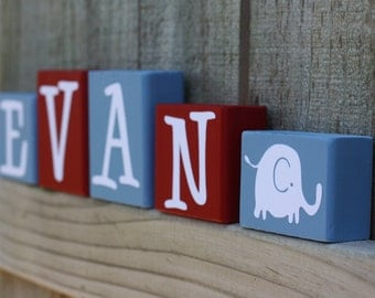 PERSONALIZED NURSERY BLOCKS - Letters - Wood Baby Elephant - Kids Room Decor - Shelf - Name - Custom Sign - Home - Wooden