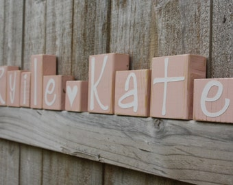 PERSONALIZED NAME BLOCKS - Girl Bedroom - Sign - Peach Pink - Heart - Girly - Custom Letter - Whimical Nursery - Distressed