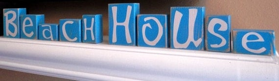 BEACH HOUSE BLOCKS - Home Decor - Shelf - Distressed - Rustic - Name - Custom - Personalized  - Letters - Driftwood