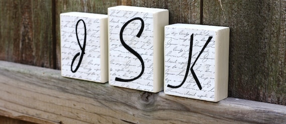 PERSONALIZED NAME BLOCKS - Letters - Initials - Custom - Script - House Warming - Wedding - Bridal Shower - Cursive - Sign