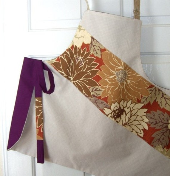 Kitchen Apron, Women's Apron, Full Apron, Floral, Reversible