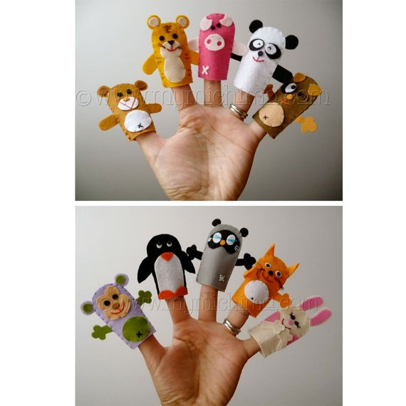 Ten Little Ones - Felt Animal Finger Puppets
