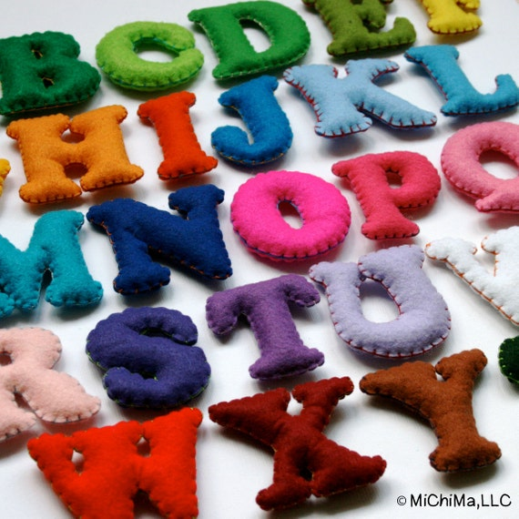 Stuffed Felt Alphabet Letter Set in a Reusable Drawstring Bag - Upper Case Fancy Set