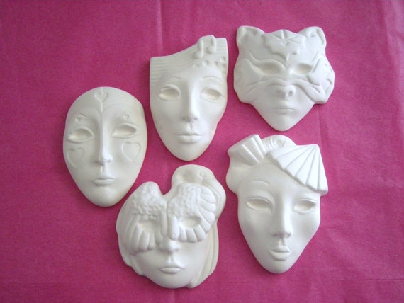 5 Mini Face Mask Pins or Pendants Ornaments Ceramics Woo Woo Price includes Shipping