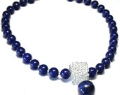 September Birthstone necklace. Elegant Blue Lapis Lazuli with Sterling Silver Sculptural Cube. High Quality Beads. Made in Canada. tagt