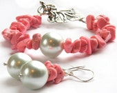 Feminine PINK Turquoise Bracelet. Big White Pearl. Oversized Antique Silver Grape Leaf Toggle Clasp. Exciting GIFT for HER