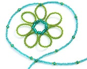 Fresh Teal and Green Seed Bead Flower Necklace. Spring Fashion. Beaded Flower. Young Fashion.