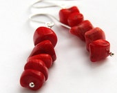 Red Coral Earrings. Large Nuggets Stacked. Sterling Silver Earrings, Simple Jewelry, Genuine Coral Jewelry, Gift for woman, Made in Canada