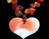 Carnelian Statement Necklace, Natural Stone Heart Necklace, Large Gemstone Pendant, Artisan Jewelry